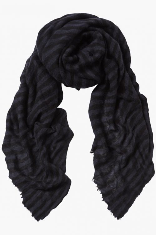 Blåsort-stripet 'Luxury big stripe' cashmere skjerf Natura Cashmere - 'luxury big stripe' 100*160 cm
