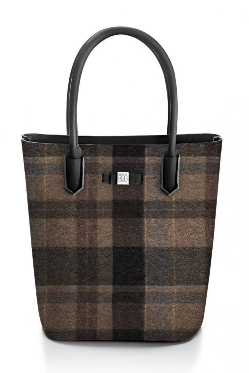 Wool brown rutet 'Popstar' shopper Save my Bag - 10230N-LY-ST LYCRA W-BROWN