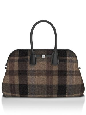 Wool brown rutet 'Principe' weekendbag Save my Bag - 10550N-LY-ST LYCRA W-BROWN