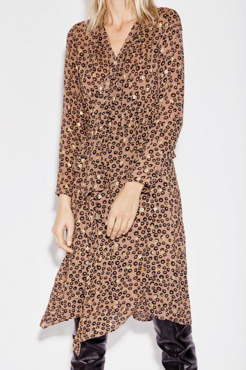 Brun leomønstret kjole med volanger Munthe