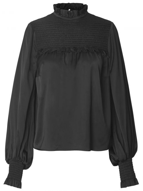 Sort bluse med stretchfelt over brystet og håndleddene Munthe - Naomi