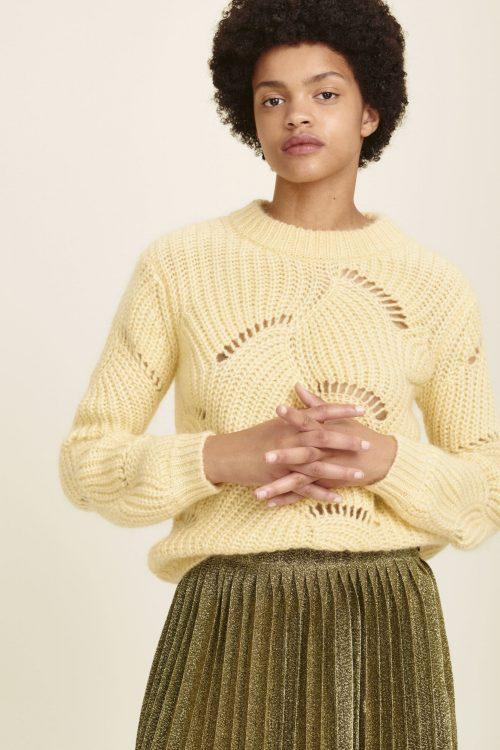 Gul kidmohaimix genser med hullmønster Samsøe Samsøe - albers oneck 10405