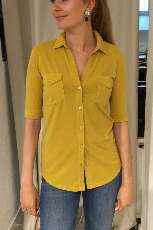 Militærgrønn (ikke gul) bomull skjorte med brystlommer Majestic Filatures - j090 fsh 014