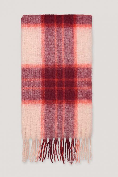 Rødrutet ullskjerf Samsøe - Minetta light scarf 10812 / 208 cm * 50 cm