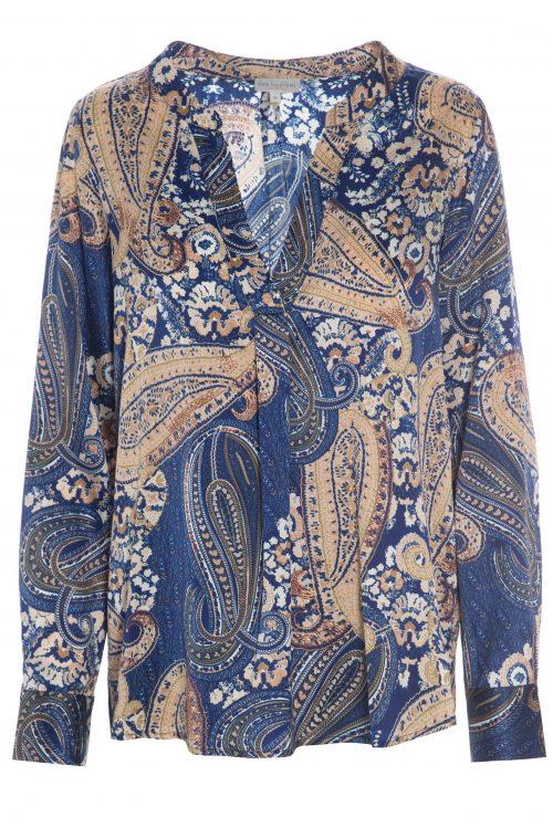 Camelblå paisleymønstret silkebluse Dea Kudibal - santena paisley blue