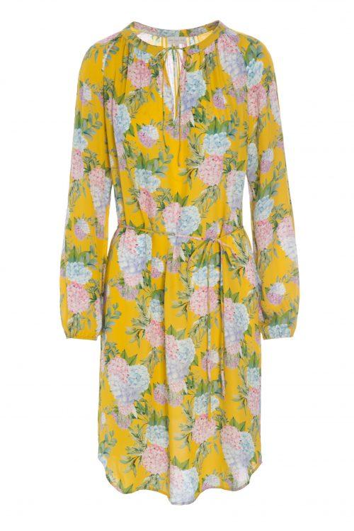 Gulmønstret silkegeorgette kjole Dea Kudibal - amber dress hortensia yellow