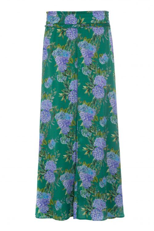 Grønnmønstret langt silkegeorgette skjørt - Dea Kudibal cornelia hortensia green
