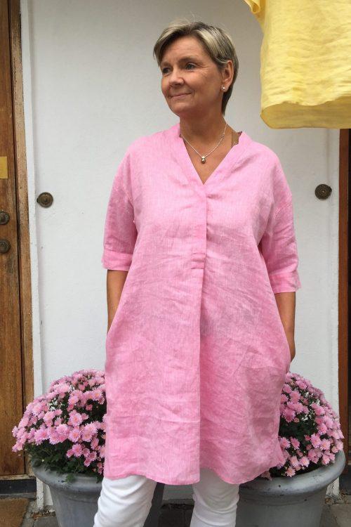 Gul eller rosa lin tunikakjole Stenstrøms - 271003 6152