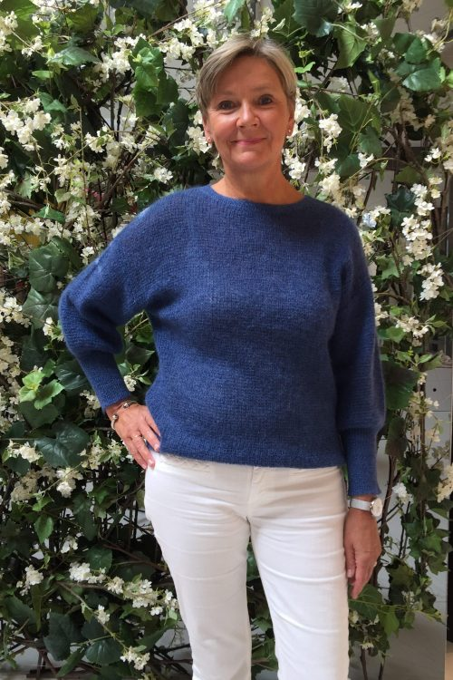 Indigo blue eller lyseblå mohairstrikk genser med pufferm Dear Dharma - puff lurex