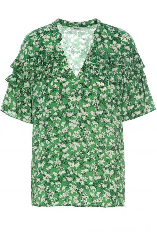 Guccigrønn-mønstret silkemix frill bluse Katrin Uri - 418 antibes frill blouse