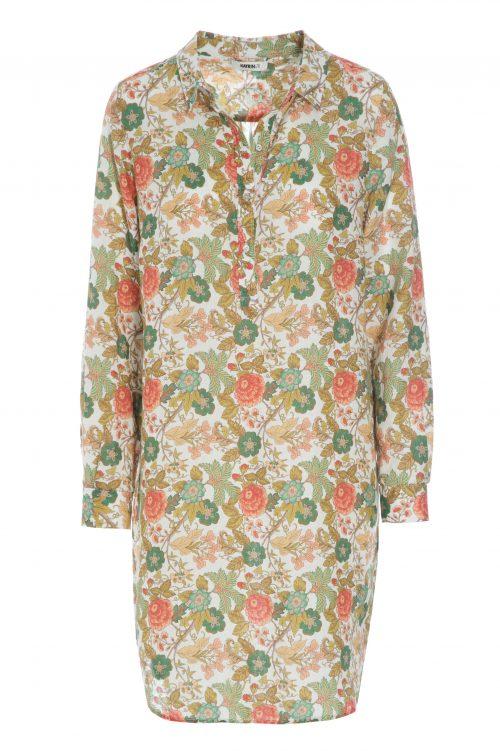 Grønnorange rosemønstret 100% lin skjortekjole Katrin Uri - 681 dry summer shift shirt dress