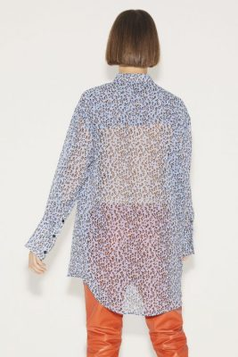 Lyseblå leoprint med sand viskose storskjorte Munthe - anna