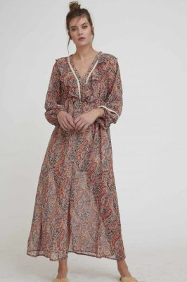 Multicolor paisleymønstret lang kjole Nekane - quercy gg