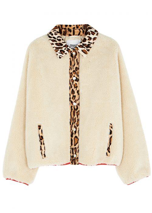 Offwhite ute eller innejakke med leopardkant Stand - caren jacket