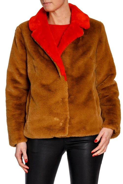 Kanel med rødt slag fuskejakke Stand - mariska jacket