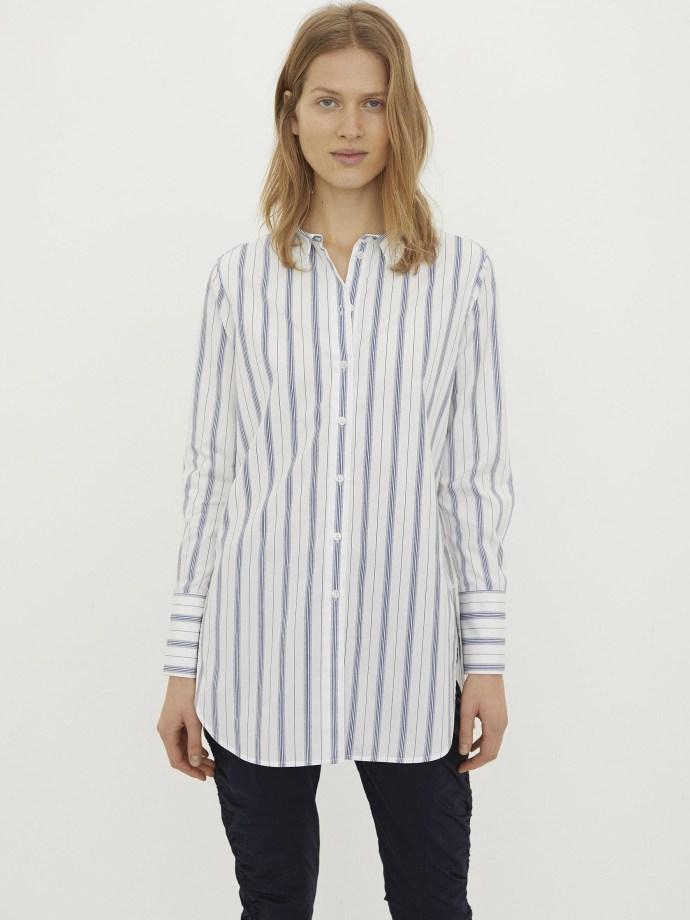 Hvit med blå striper bomull storskjorte By Malene Birger - Q66366002