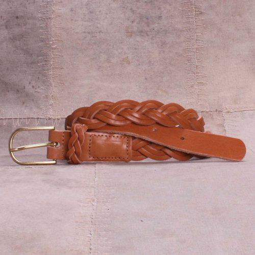 Camel skinn flettebelte Bæltekompagniet - 34357-31