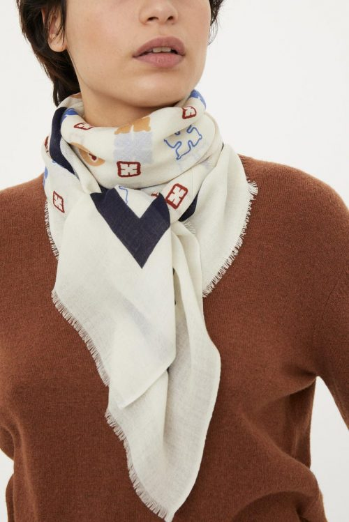 Offwhite med blått ullskjerf By Malene Birger - Wool twill scarf Q55615109 2bd