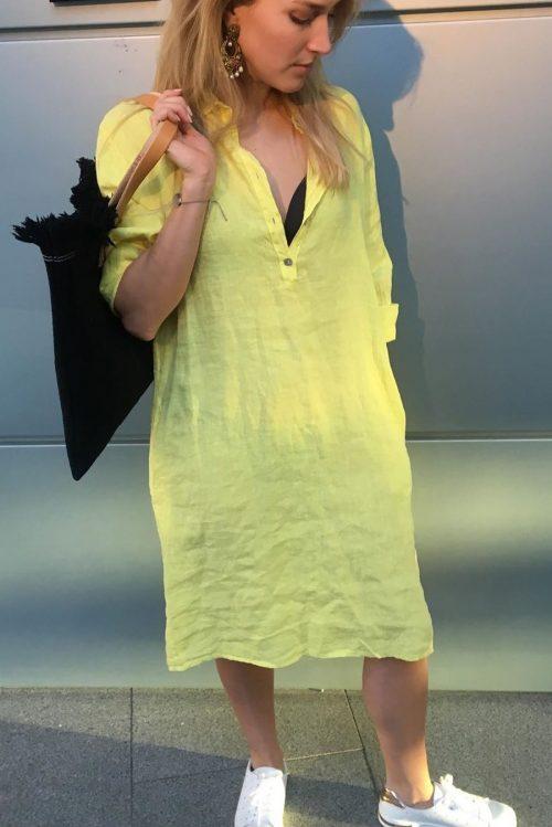 Grønn, gul, army eller pink lin skjortekjole Cabana Living - 3008