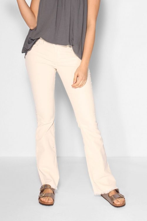 Ecru microcord flare bukse med råkant Lois Jeans