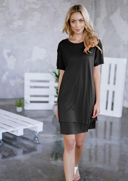 Hvit eller sort bom/viskose/pes kjole med dobbeltlag Cotton Candy - 1192-KL-07 Jelda