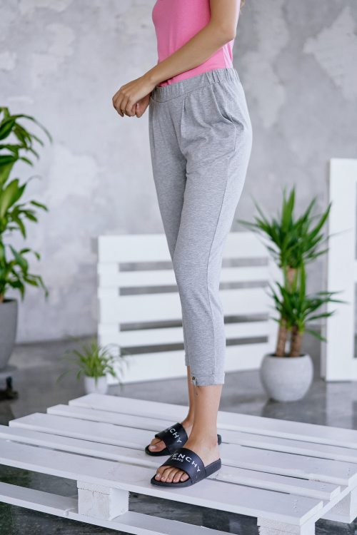 Hvit eller grey melange micromodal trackpants Cotton Candy - 1192-PA-01 Isa