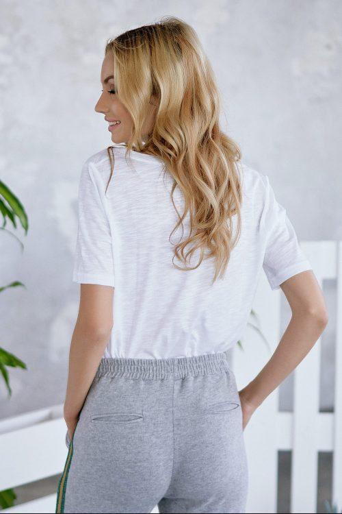 Hvit eller grey melange bom/cmd t-shirt med v-hals Cotton Candy - 1192-T2-08 Jeanette