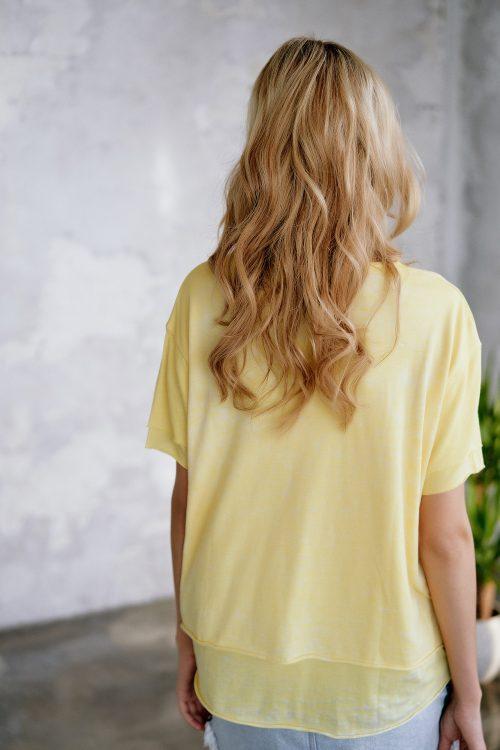 Hvit, sort, grey melange eller gul bomull/viskose/pes topp med dobbeltlag Cotton Candy - 1192-T2-15 Jule