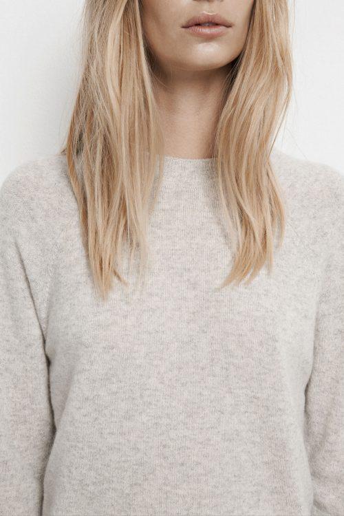 White melange eller sort cashmere genser Samsøe - Boston o-neck 6304