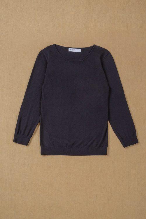 Sort, oatmeal eller dark ink blue (marine) tynnere feminin merino genser Cathrine Hammel - 1388 evening sweater