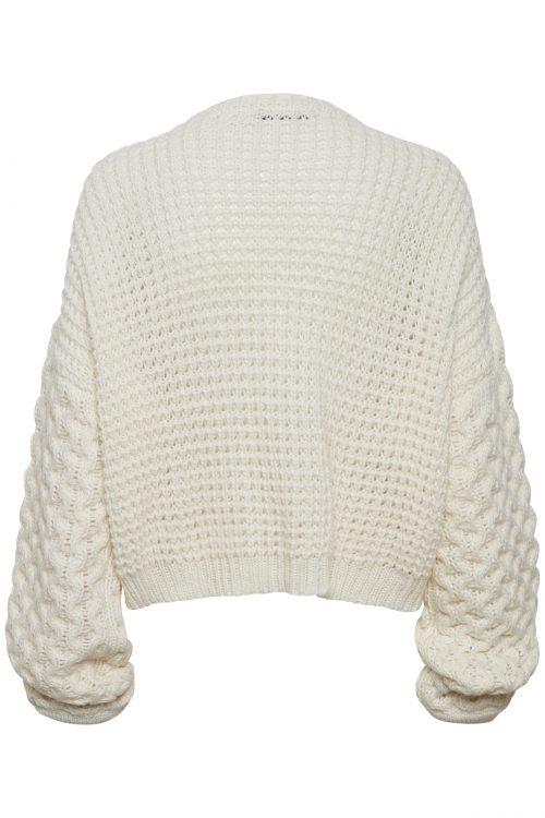 Offwhite grovstrikket cardigan med trendy poseerm Gestuz - kassy pullover 3735