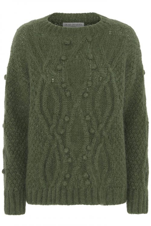 Army eller beige flettestrikket genser Dear Dharma - dot sweater