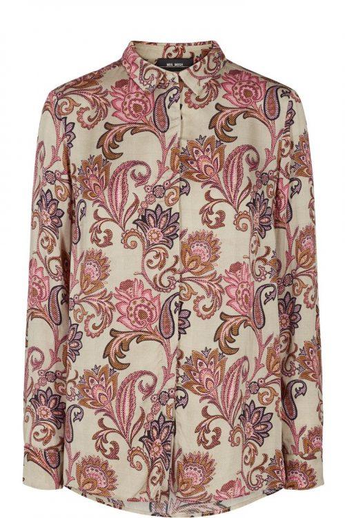Beige med roser viskose skjorte Mos Mosh - 129874 taylor weave shirt
