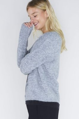 Grey melange, sort eller dark blue melange alpakkamix cardigan Samsøe - 6355 nor short cardigan
