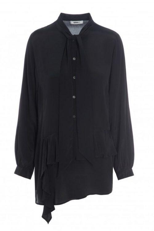 Sort silke/viskose skjortebluse med knyting Katrin Uri - 430 oline solid flounce blouse