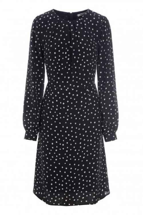 Sort med hvite dots silke/viskose kjole Katrin Uri - 645 kate dots dress