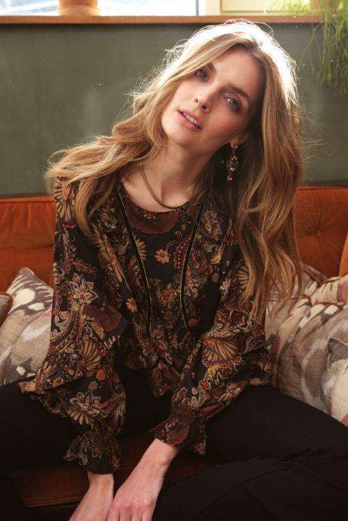 Høstmønstret 'spansk' silke viskose bluse Katrin Uri - 421 becca paisley blouse