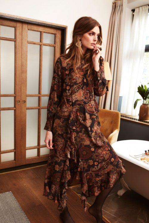 Høstmønstret paisley silke viskose lang skråkuttet kjole Katrin Uri - 625 harper paisley dress
