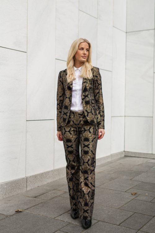 Rålekker og supertrendy party jakke og bukse med gullbrokade Mos Mosh - 130700 Blake Miramare Blazer og 130704 Ivana Miramare Long Pant