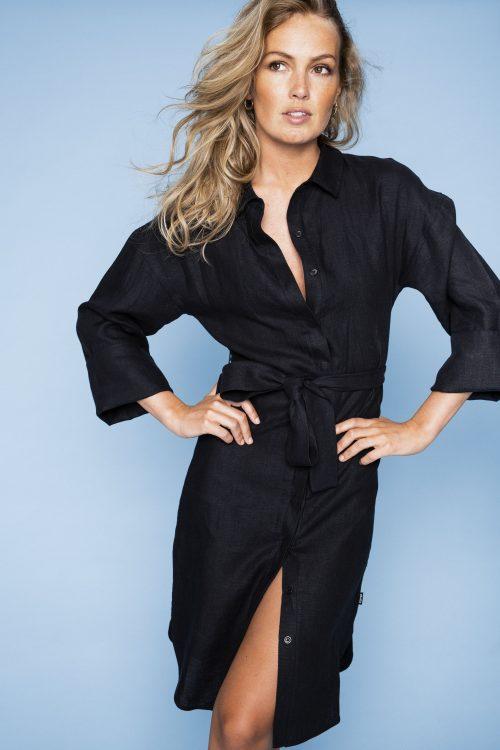 Beige eller sort lin skjortekjole Ella & Il - Leah linen dress