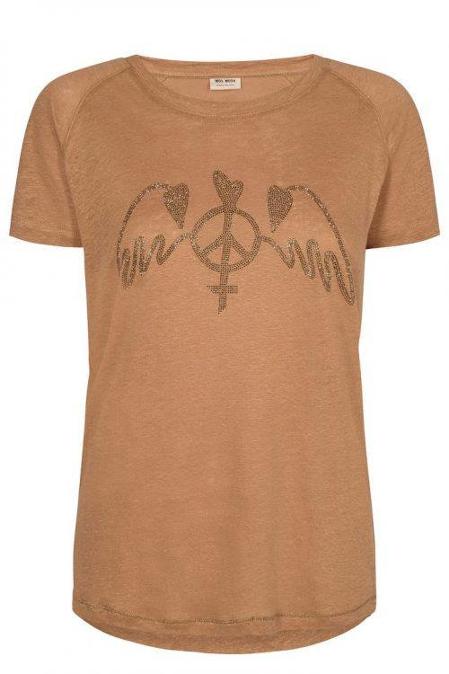 Cognac, rosa eller ecru 100% lin t-shirt med glitterpynt Mos Mosh - 131300 mag linnen tee