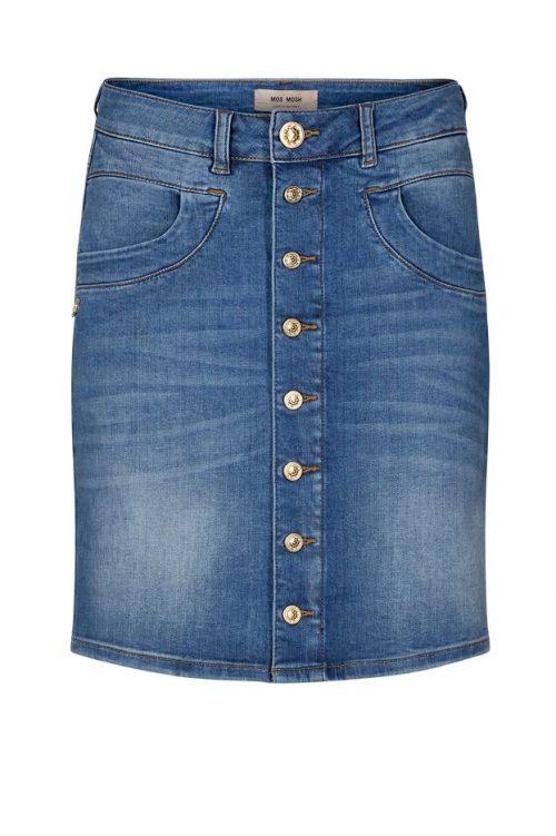 Blue denim jeansskjørt med detaljer på lomme Mos Mosh - 131481 vicky decor skirt