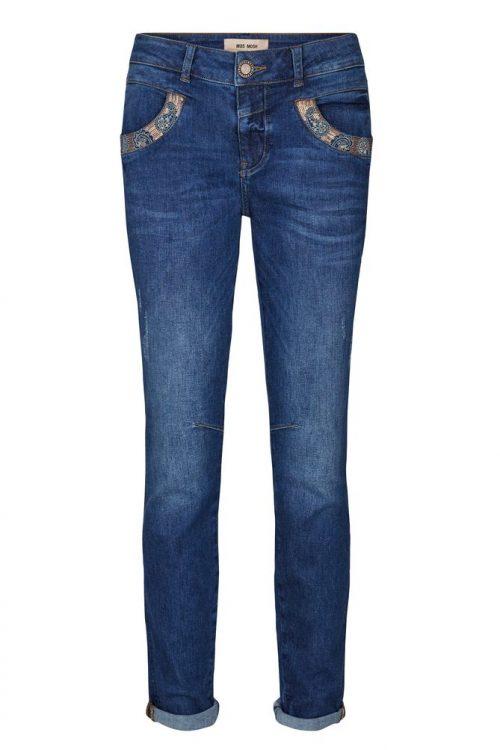 Dark blue jeans med detaljer ved lomme Mos Mosh - 131490 naomi paisley jeans