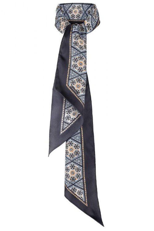 Geometrisk mønstret silkeskjerf Framhus - Joni angel blue