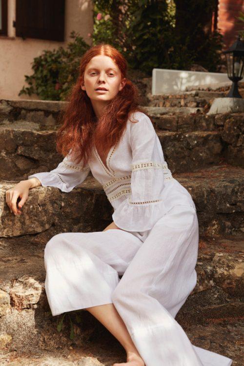 Hvit linbluse med engelsk blonde Katrin Uri - 431 belize linen blouse