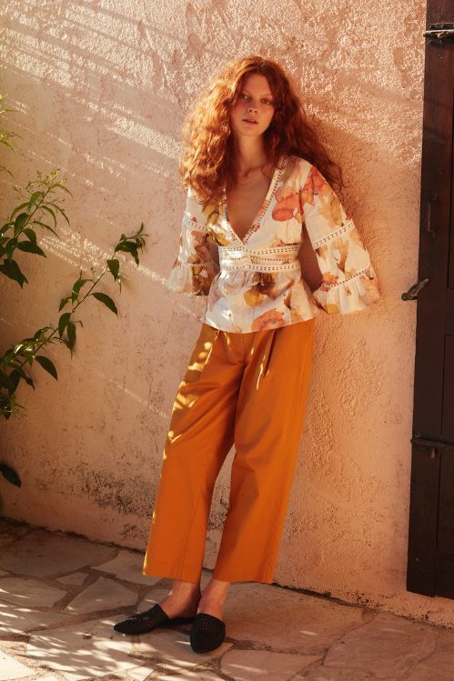 Grønnrosamønstret (ikke orangemønstret) linbluse med engelsk blonde Katrin Uri - 433 the artist belize blouse