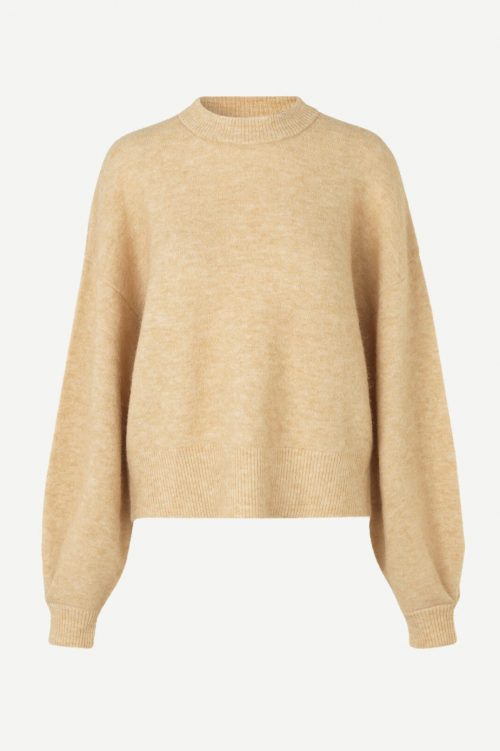 Dueblå eller dus camelgul alpakkamix genser med poseerm Samsøe - 7355 alain crewneck