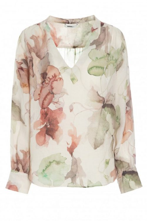 Grønnrosamønstret ramie bluse med v-hals og poseerm Katrin Uri - 408 the artist nami blouse