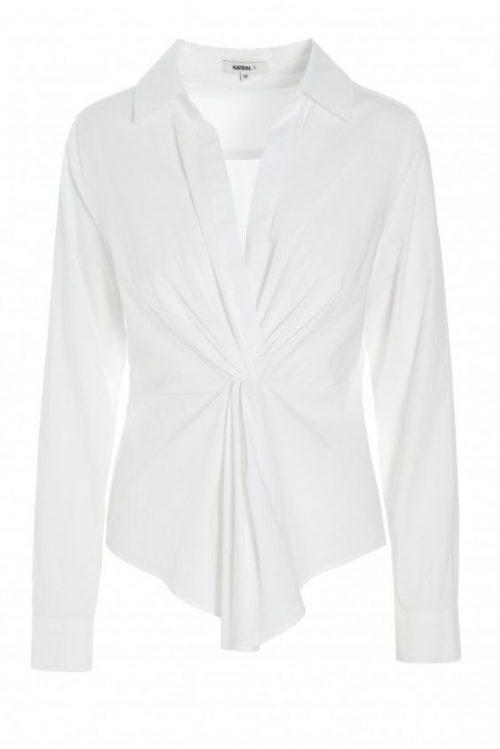 Hvit bomull med knyting i front Katrin Uri - 427 hanna knotted front shirt
