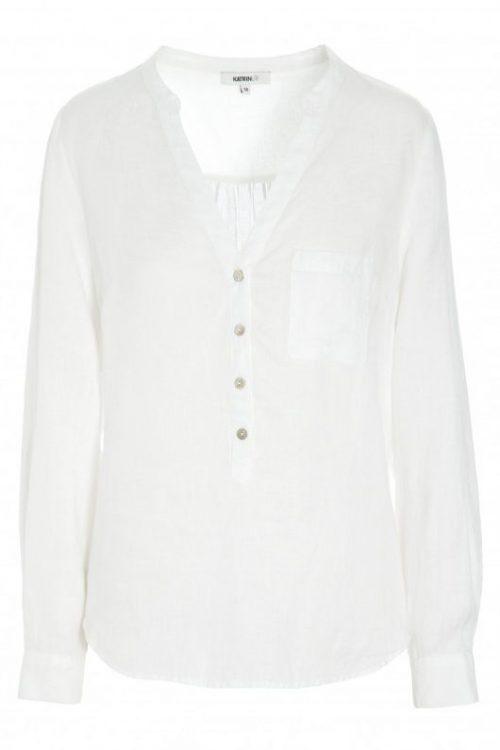 Hvit eller kokssort linbluse med v-hals + lomme Katrin Uri - 430 amalfi linen shirt
